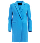 French Connection Imperial Wool Coat In Mosaic Blue
