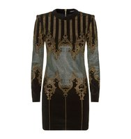 Balmain Studded Baroque Long Sleeve Dress