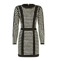 Balmain Woven Suede Check Dress