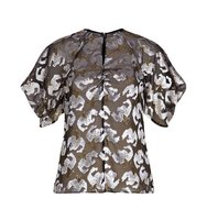 Erdem Rozalia Jacquard Short Sleeve Top