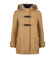 Maje Gritty Fur Trim Coat