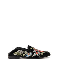 Alexander McQueen Floral embroidered velvet loafers
