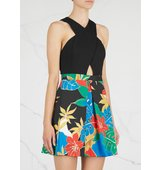 Alice and Olivia Ali cut out jersey and stretch cotton dress