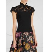 Alice and Olivia Dandi black lace and jersey top