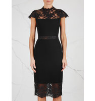Alice and Olivia Kim black lace panelled dress
