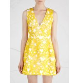 Alice and Olivia Pacey yellow guipure lace mini dress