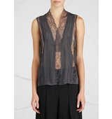 Alice and Olivia Peta lace panelled chiffon top