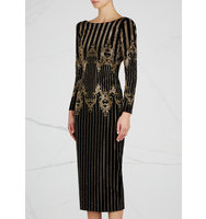 Balmain Black studded velvet midi dress