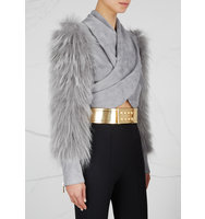 Balmain Gold glossed leather waist belt