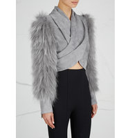 Balmain Grey cropped suede and fur jacket