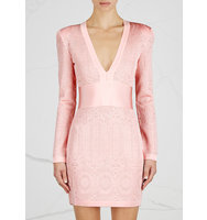 Balmain Pink jacquard knit mini dress