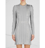 Balmain Silver lace up stretch knit mini dress