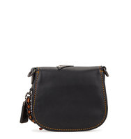 Coach Black appliqud leather saddle bag