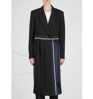 DKNY Black and navy wool blend coat