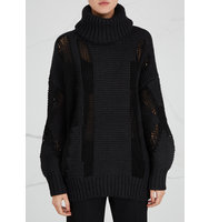 DKNY Black chunky knit wool blend jumper