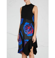 DKNY Black floral print satin dress