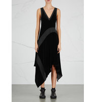 DKNY Black jersey and velvet dress