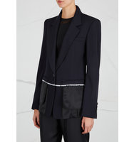 DKNY Navy satin and wool blend jacket