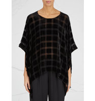 EILEEN FISHER Black checked devor poncho