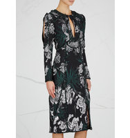 Erdem Chrissy cut out metallic jacquard dress