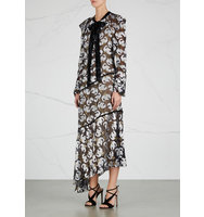Erdem Rosaley asymmetric fil coup dress