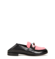 Fendi Black leather and shearling loafers