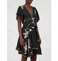 Halston Heritage Black floral print silk dress