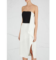 Halston Heritage Monochrome draped strapless dress