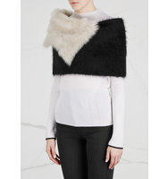 Karl Donoghue Cream and black angora blend shrug