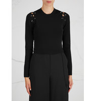 Proenza Schouler Black lace up cropped jumper