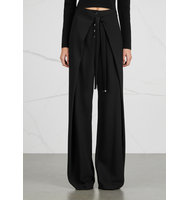 Proenza Schouler Black wide leg wrap effect trousers