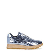 Stella McCartney Metallic blue faux leather trainers