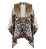 Accessorize Diamond faux fur trim poncho Charcoal