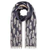 Accessorize Felicity feather jacquard scarf Navy