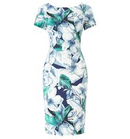 Adrianna Papell Short Sleeve Floral Sheath Dress Multi Coloured