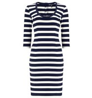 Adrianna Papell Three quarter sleeve striped dress Multi Coloured