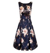 Chi Chi London Digital floral print midi skater dress Navy