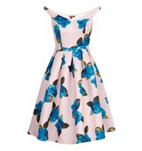 Chi Chi London Floral Print Bardot Midi Dress Pink