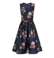 Chi Chi London Floral Print Midi Dress Navy