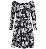 Closet Bardot Monochrome Dress Black White