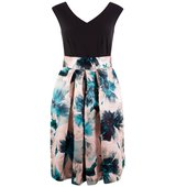 Closet Contrast Floral Satin Skirt Dress Multi Coloured