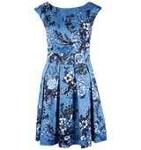 Closet Floral V Back Box Pleat Dress Blue