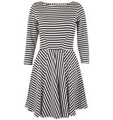 Closet Monochrome Stripe Skater Dress Black White