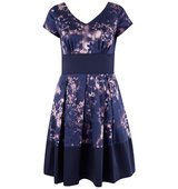 Closet Purple Floral Contrast Hem V Neck Dress Dark Purple
