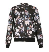 Izabel London Floral Print Bomber Jacket Multi Coloured
