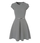 Jane Norman Black And White Stripe Skater Dress Black White
