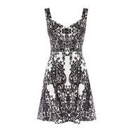 Karen Millen Print Velvet Dress Black White