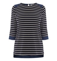 Oasis Chambray Cuff Breton Top Navy