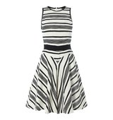 Tara Jarmon Stripe sleeveless fit and flare dress Black White