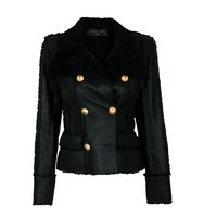 Balmain Balmain Double Breasted Shearling Leather Jacket